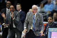 CHAPEL HILL, NC - FEBRUARY 1: Head coach Roy Williams of the University of North Carolina encourages his team during a game between Boston College and North Carolina at Dean E. Smith Center on February 1, 2020 in Chapel Hill, North Carolina.