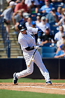 New York Yankees shortstop Troy Tulowitzki (12) swings at a pitch during a Grapefruit League Spring Training game against the Toronto Blue Jays on February 25, 2019 at George M. Steinbrenner Field in Tampa, Florida.  Yankees defeated the Blue Jays 3-0.  (Mike Janes/Four Seam Images)