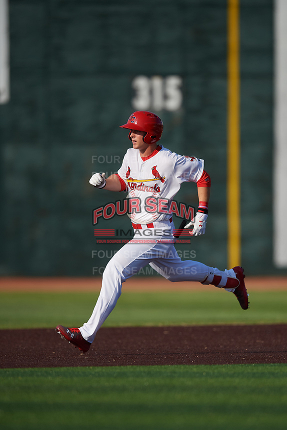Johnson City Cardinals third baseman Nolan Gorman (4) runs the bases during a game against the Danville Braves on July 29, 2018 at TVA Credit Union Ballpark in Johnson City, Tennessee.  Johnson City defeated Danville 8-1.  (Mike Janes/Four Seam Images)