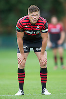 20120823 Copyright onEdition 2012©.Free for editorial use image, please credit: onEdition..Owen Farrell of Saracens looks on at The Honourable Artillery Company, London in the pre-season friendly between Saracens and Stade Francais Paris...For press contacts contact: Sam Feasey at brandRapport on M: +44 (0)7717 757114 E: SFeasey@brand-rapport.com..If you require a higher resolution image or you have any other onEdition photographic enquiries, please contact onEdition on 0845 900 2 900 or email info@onEdition.com.This image is copyright the onEdition 2012©..This image has been supplied by onEdition and must be credited onEdition. The author is asserting his full Moral rights in relation to the publication of this image. Rights for onward transmission of any image or file is not granted or implied. Changing or deleting Copyright information is illegal as specified in the Copyright, Design and Patents Act 1988. If you are in any way unsure of your right to publish this image please contact onEdition on 0845 900 2 900 or email info@onEdition.com