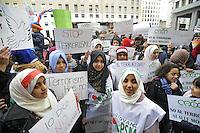 - Milano 21/11/2015 - manifestazione di protesta delle organizzazioni Islamiche contro il terrorismo<br /> <br /> - Milan 21/11/2015 - protest demonstration of Islamic organizations against terrorism