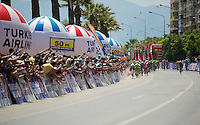 with 100m to go Mark Cavendish (GBR/OPQS) was still leading, but Elia Viviani (ITA) will soon thunder by to take the win<br /> <br /> Tour of Turkey 2014<br /> stage 7
