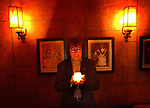 Bill Wyman in the light during the former Rolling Stone's birthday bash and new book celebration at Bar Marmont, Thursday night in Hollywood.