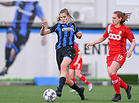 Marie Minnaert (13) of Club Brugge pictured with Elien Nelissen (15) of Standard  during a female soccer game between Club Brugge Dames YLA and Standard Femine de Liege on the seventh matchday in Play-Off 1 of the 2020 - 2021 season of Belgian Scooore Womens Super League , saturday 15 May 2021  in Brugge , Belgium . PHOTO SPORTPIX.BE | SPP | DAVID CATRY