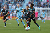 ST PAUL, MN - AUGUST 14: Kevin Cabral #9 of the Los Angeles Galaxy with the ball during a game between Los Angeles Galaxy and Minnesota United FC at Allianz Field on August 14, 2021 in St Paul, Minnesota.
