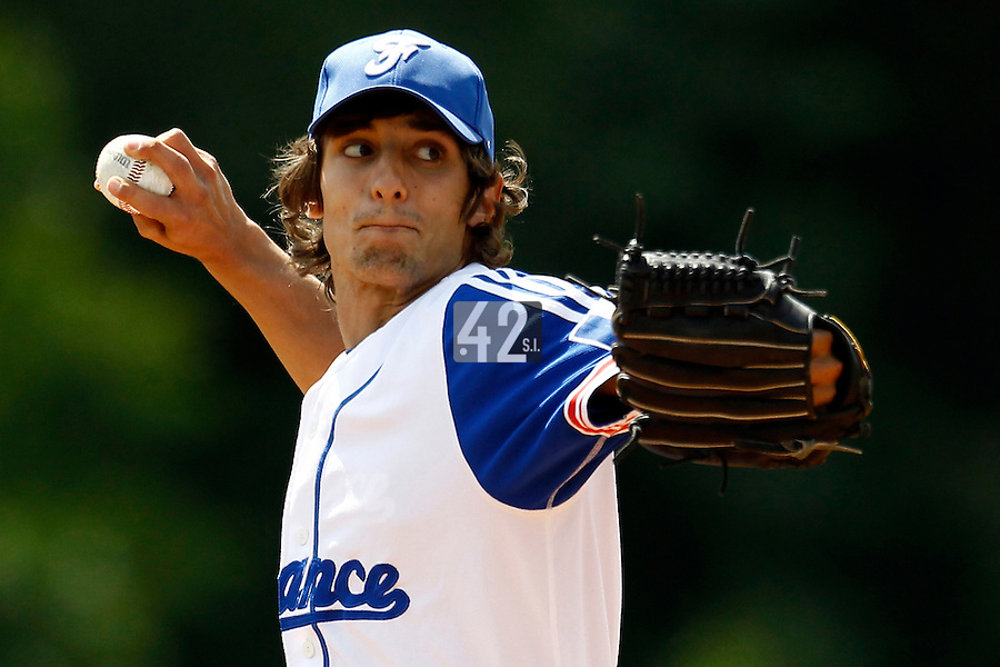 23 June 2011: Eloi Secleppe of Team France pitches against USSSA during USSSA 5-3 win over France, at the 2011 Prague Baseball Week, in Prague, Czech Republic.
