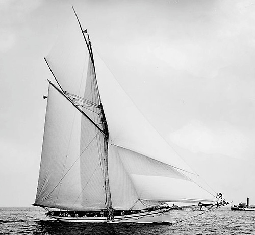 Galatea racing. In reality, she was a comfortable cruising yacht which happened to set an enormous spread of rather good sails.