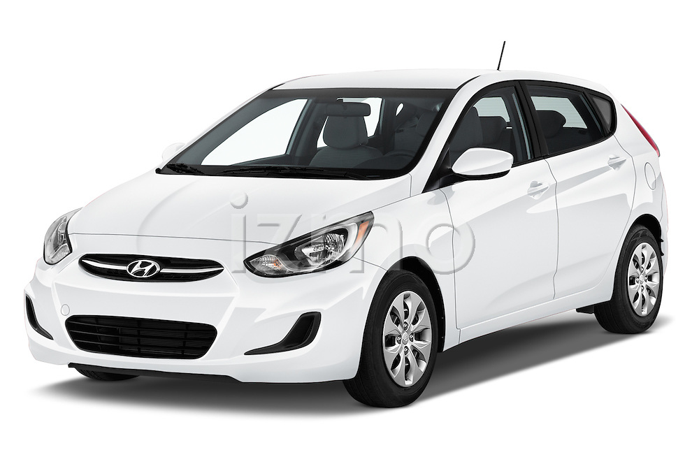 2017 Hyundai Accent SE 6-Speed Automatic 5 Door Hatchback Angular Front stock photos of front three quarter view