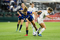 TACOMA, WA - JULY 31: Emily Fox #11 of Racing Louisville FC and Sofia Huerta #11 of the OL Reign battle for the ball during a game between Racing Louisville FC and OL Reign at Cheney Stadium on July 31, 2021 in Tacoma, Washington.