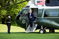 United States President Donald J. Trump steps off Marine One on the South Lawn of the White House in Washington, D.C., U.S., on Sunday, June 14, 2020.  Trump tweeted that he will not watch the NFL or the U.S. Soccer Federation if either organization allows players to kneel during the playing of the American National Anthem.  <br /> Credit: Stefani Reynolds / Pool via CNP/AdMedia