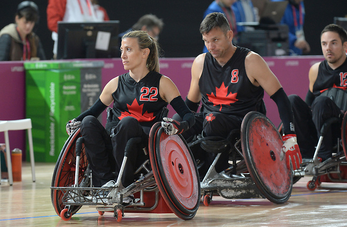 Melanie Labelle and Mike Whitehead, Lima 2019 - Wheelchair Rugby // Rugby en fauteuil roulant.<br /> Canada takes on the USA in wheelchair rugby // Le Canada affronte les États-Unis au rugby en fauteuil roulant. 27/08/2019.