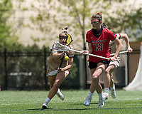 NEWTON, MA - MAY 14: Lindsey Barnes #23 of Fairfield University loses control of the ball during NCAA Division I Women's Lacrosse Tournament first round game between Fairfield University and Boston College at Newton Campus Lacrosse Field on May 14, 2021 in Newton, Massachusetts.