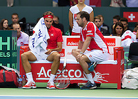 Switserland, Genève, September 20, 2015, Tennis,   Davis Cup, Switserland-Netherlands, Roger Federer on the Swiss bench with captain Severin Luthi<br /> Photo: Tennisimages/Henk Koster