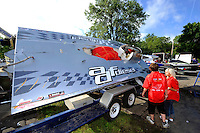 "Crash damage, Pierre Mahaeu's GP-46 ""adf diesel""..Syracuse Hydrofest, Onondaga Lake, Syracuse, NY.20/21 June, 2009, Dayton, OH USA..©F. Peirce Williams 2009 USA.F.Peirce Williams.photography.ref: RAW (.NEF) File Available"