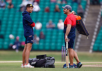Acting Kent coach Simon Cook (L) in discussion with batting coach Mike Yardy during Kent Spitfires vs Lancashire, Royal London One-Day Cup Cricket at The Kent County Cricket Ground on 28th July 2021