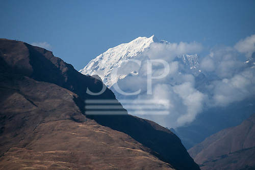 Vilcabamba, Peru. Andean valley landscape on the pass between Urubamba and Quillabamba with snow capped peaks.