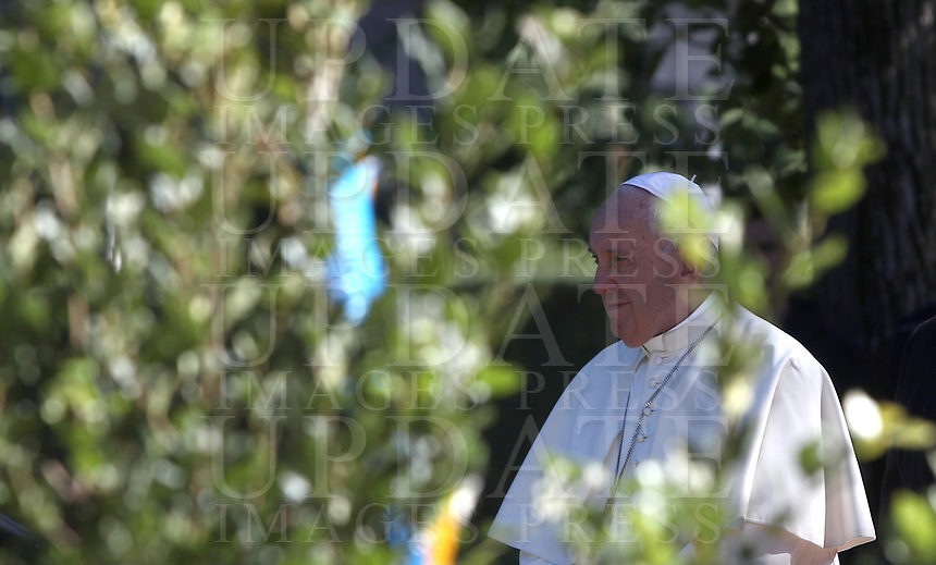 Pope Francis arrives to attend celebrations for the Feast of Saint Francis of Assisi in the Vatican Garden at the Vatican, on October 4, 2019 <br /> UPDATE IMAGES PRESS/Isabella Bonotto<br /> <br /> STRICTLY ONLY FOR EDITORIAL USE