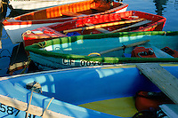 Colorful dinghies decorate the dock in Santa Barbara harbor