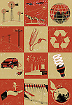 Collage of objects related to environment
