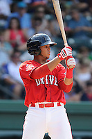 Third baseman Aneudis Peralta (28) of the Greenville Drive bats in a game against the Augusta GreenJackets on Sunday, July 13, 2014, at Fluor Field at the West End in Greenville, South Carolina. Greenville won, 8-5. (Tom Priddy/Four Seam Images)