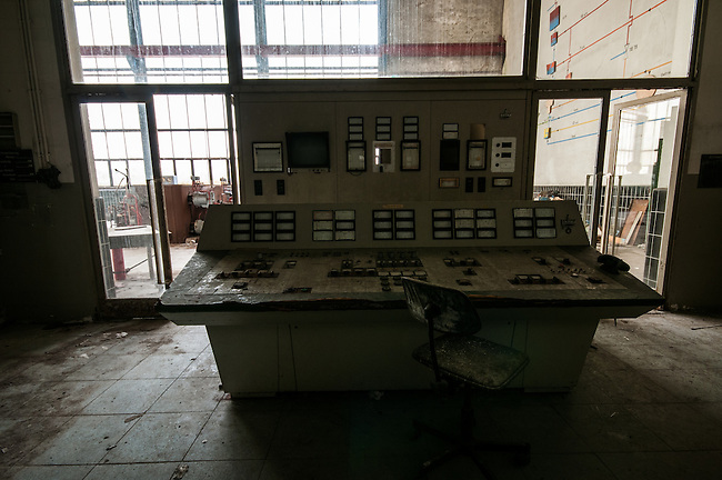 An abandoned paper mill in the Black Forest .<br /> The electric control room.