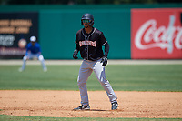 Jupiter Hammerheads Victor Victor Mesa (32) leads off first base during a Florida State League game against the Dunedin Blue Jays on May 16, 2019 at Jack Russell Memorial Stadium in Clearwater, Florida.  Dunedin defeated Jupiter 1-0.  (Mike Janes/Four Seam Images)