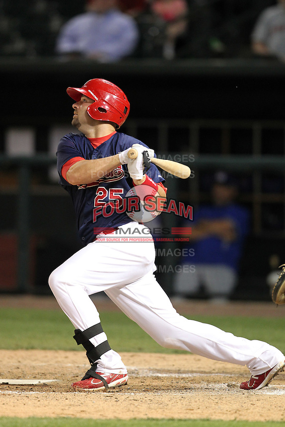 Memphis Redbirds first baseman Nick Stavinoha #25 at bat during a game versus the Round Rock Express at Autozone Park on April 28, 2011 in Memphis, Tennessee.  Memphis defeated Round Rock by the score of 6-5 in ten innings.  Photo By Mike Janes/Four Seam Images