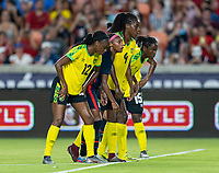 HOUSTON, TX - JUNE 13: Crystal Dunn #19 of the USWNT gets set for a penalty kick during a game between Jamaica and USWNT at BBVA Stadium on June 13, 2021 in Houston, Texas.