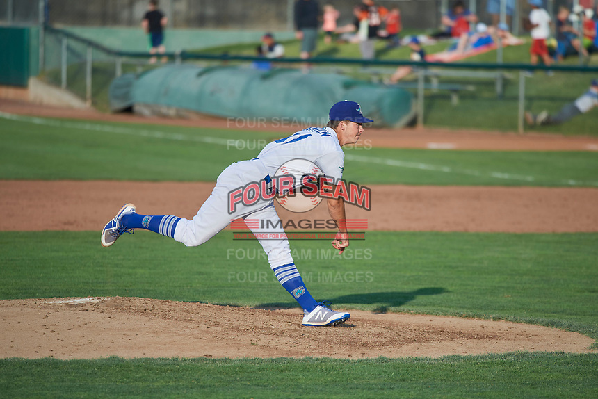 Caleb Sampen (51) of the Ogden Raptors delivers a pitch to the plate against the Idaho Falls Chukars at Lindquist Field on July 2, 2018 in Ogden, Utah. The Raptors defeated the Chukars 11-7. (Stephen Smith/Four Seam Images)