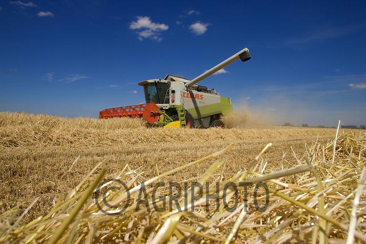 A Combine Harvester Working Under a Deep Blue Sky