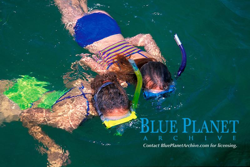 snorkelers over reef, Florida Keys, Florida, Atlantic Ocean