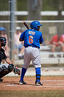 New York Mets Leon Byrd  (6) bats during a minor league Spring Training game against the Miami Marlins on March 26, 2017 at the Roger Dean Stadium Complex in Jupiter, Florida.  (Mike Janes/Four Seam Images)