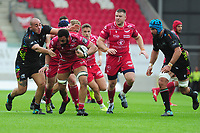 Uzair Cassiem of Scarlets in action during the Guinness Pro14 Round 02 match between the Scarlets and Zebre Rugby at the Parc Y Scarlets Stadium in Llanelli, Wales, UK. Saturday 12 October 2019
