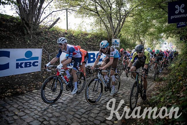 Jasper Stuyven (BEL/Trek-Segafredo), Oliver Naesen (BEL/AG2R-LaMondiale) & Luka Mezgec (SLO/Mitchelton Scott) up the infamous Koppenberg<br /> <br /> 104th Ronde van Vlaanderen 2020 (1.UWT)<br /> 1 day race from Antwerpen to Oudenaarde (BEL/243km) <br /> <br /> ©kramon
