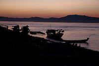 Myanmar, Burma.  Ayeyarwady Riverbank at Sunset at Bagan.