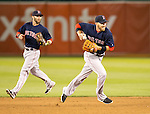 Dustin Pedroia backs up Stephen Drew.<br /> Boston Red Sox at Oakland A's at O.Co coliseum in Oakland, June 20, 2014