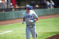 Duke Blue Devils third baseman Erikson Nichols (42) jogs to the plate against the Wright State Raiders in NCAA Regional play on Robert M. Lindsay Field at Lindsey Nelson Stadium on June 5, 2021, in Knoxville, Tennessee. (Danny Parker/Four Seam Images)