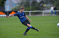 Kaeden Atkins passes during the Central League football match between Miramar Rangers and Lower Hutt AFC at David Farrington Park in Wellington, New Zealand on Saturday, 10 April 2021. Photo: Dave Lintott / lintottphoto.co.nz
