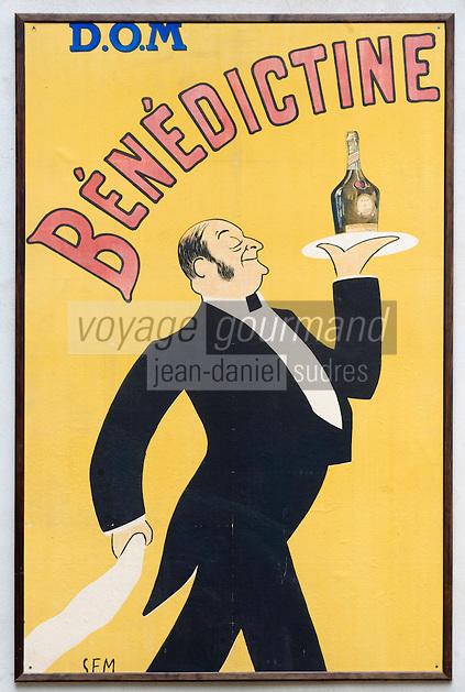 Europe/France/Normandie/Haute-Normandie/76/Seine-Maritime/ Fécamp : Le Palais Bénédictine construit par le fondateur de la distillerie Alexandre le Grand   -le Musée:Ancienne affiche pour la liqueur  Bénédictine