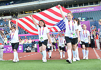 July 25, 2012..Children bring National Flag of the United states of America on the field before USA vs France Football match during 2012 Olympic Games at Hampden Park in Glasgow, England. USA defeat France 4-2 after conceding two goals in the first half of the match...(Credit Image: © Mo Khursheed/TFV Media)