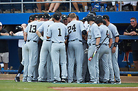 The Wake Forest Demon Deacons huddle up prior to the game against the Florida Gators in Game One of the Gainesville Super Regional of the 2017 College World Series at Alfred McKethan Stadium at Perry Field on June 10, 2017 in Gainesville, Florida. The Gators defeated the Demon Deacons 2-1 in 11 innings. (Brian Westerholt/Four Seam Images)