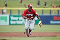 Carolina Mudcats third baseman Zavier Warren (6) on defense against the Kannapolis Cannon Ballers at Atrium Health Ballpark on June 13, 2021 in Kannapolis, North Carolina. (Brian Westerholt/Four Seam Images)