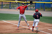 Williamsport Crosscutters first baseman Greg Pickett (8) jumps for a high throw as Samuel Castro (5) runs up the base line during the first game of a doubleheader against the Batavia Muckdogs on August 20, 2017 at Dwyer Stadium in Batavia, New York.  Batavia defeated Williamsport 6-5.  (Mike Janes/Four Seam Images)