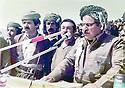 Iraq 1984  .On march 21st, in Surdach, celebration of Nowruz: Jalal Talabani making a speech .Irak 1984.Le 21  mars, a Surdach, celebration of nowruz, Jalal Talabani prononce un discours, a sa gauche Kemal Khoshnaw et Ardalan Baez<br /> عیراق 21 ی مارسی  1984  سوورداش ، جه لال ته له بانی به بونه ی جیژنی نه وروز قسان بو خه لک ده کات . له لای چه په وه بو راست : که مال خوشناو و ئه رسه لان بائیز.