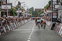 Emils Liepins (LTV/One Pro Cycling) beats Wouter Wippert (NED/Roompot - Nederlandse Loterij)  at the finish line <br /> <br /> 11th Heistse Pijl 2018<br /> Turnhout > Heist-op-den Berg 194km (BEL)
