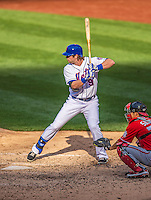 20 April 2013: New York Mets outfielder Kirk Nieuwenhuis in action against the Washington Nationals at Citi Field in Flushing, NY. The Mets fell to the visiting Nationals 7-6, tying their 3-game weekend series at one a piece. Mandatory Credit: Ed Wolfstein Photo *** RAW (NEF) Image File Available ***