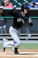 Jackson Generals shortstop Nick Franklin #35 swings at a pitch during a game between the Jackson Generals and the Tennessee Smokies at Smokies Park, Kodak, Tennessee April 11, 2012. The Generals won 2-1  (Tony Farlow/Four Seam Images)..