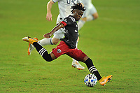 WASHINGTON, DC - SEPTEMBER 27: Moses Nyeman #27 of D.C. United passes off the ball during a game between New England Revolution and D.C. United at Audi Field on September 27, 2020 in Washington, DC.