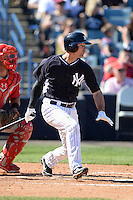 Second baseman Dean Anna (93) of the New York Yankees during a spring training game against the Philadelphia Phillies on March 1, 2014 at Steinbrenner Field in Tampa, Florida.  New York defeated Philadelphia 4-0.  (Mike Janes/Four Seam Images)