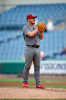 Lehigh Valley IronPigs relief pitcher Mark Leiter Jr. (47) looks in for the sign during a game against the Syracuse Chiefs on May 20, 2018 at NBT Bank Stadium in Syracuse, New York.  Lehigh Valley defeated Syracuse 5-2.  (Mike Janes/Four Seam Images)